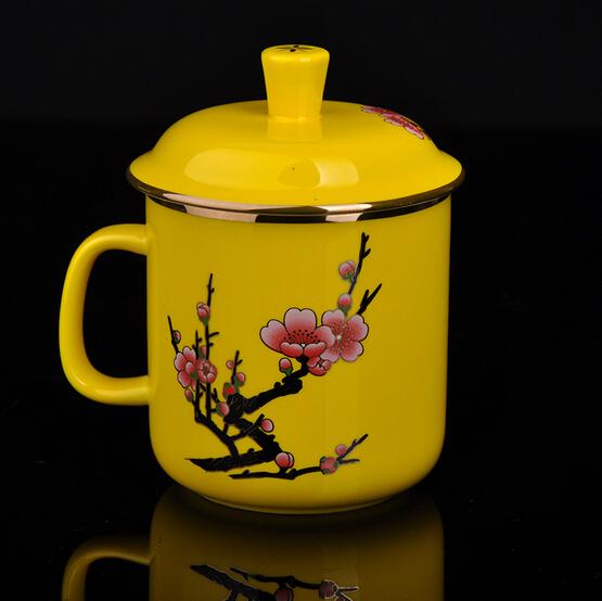 中国黄瓷 梅花将军杯陶瓷茶杯