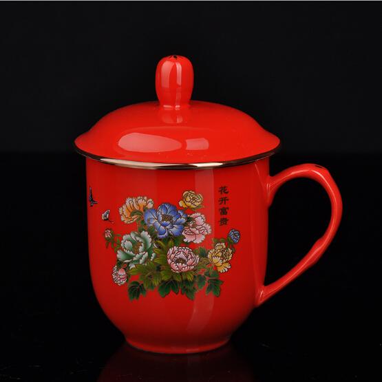 红瓷茶杯 花开富贵陶瓷水杯