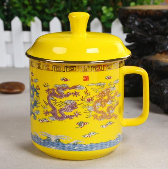 黄瓷水杯 龙凤呈祥陶瓷杯