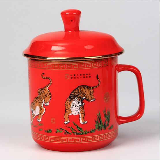 红瓷将军杯 会议纪念水杯