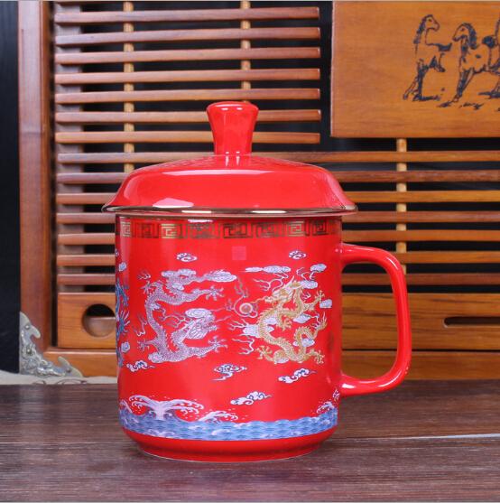 中国风红瓷将军杯