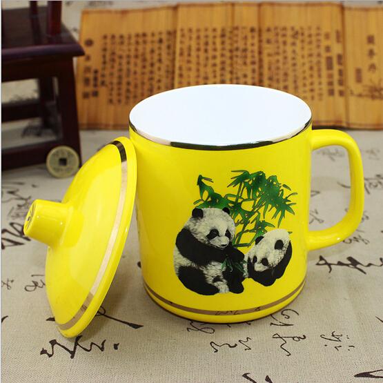 熊猫陶瓷盖杯 帝王黄瓷杯子