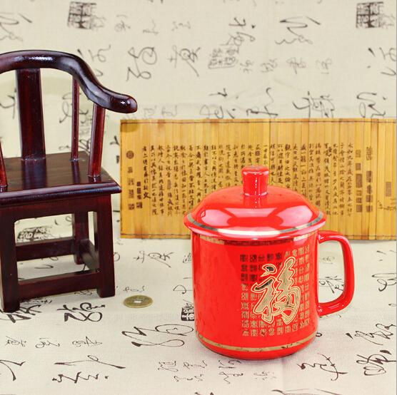 中国红瓷茶杯 红瓷老板杯