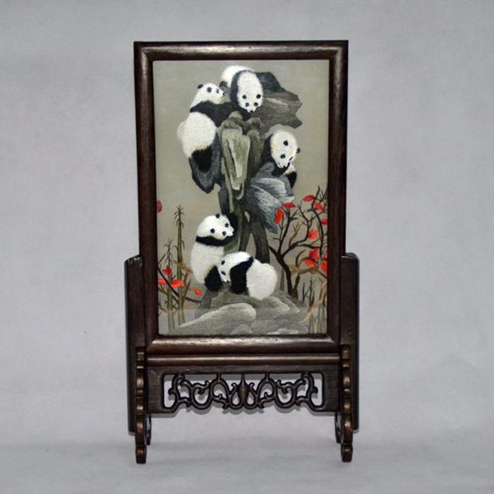 四川蜀绣双面绣五个熊猫