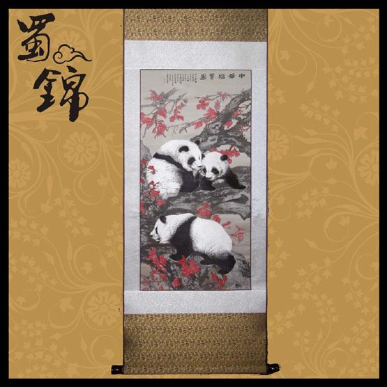 蜀锦国宝三熊猫