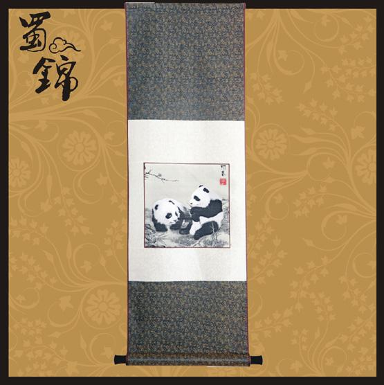 蜀锦初春熊猫图