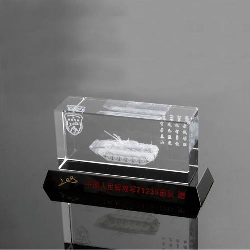 水晶内雕纪念盘定做 坦克模型