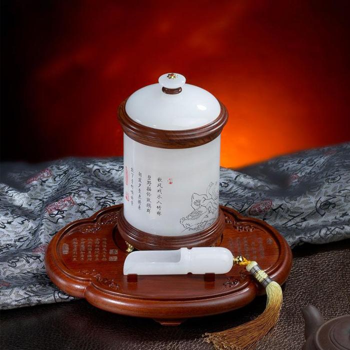 白玉茶叶罐